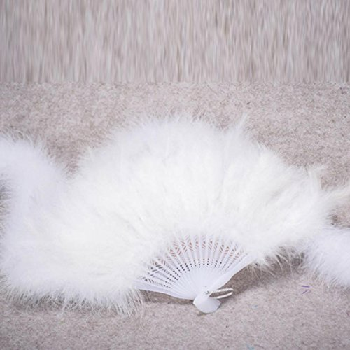 Cheap Xmas Fancy Dress Costumes (Coerni Elegant Fancy Costume Party Dance Fan for Wedding ,Dancing, Large Feather Folding Hand Fan Decor on SALE (White))