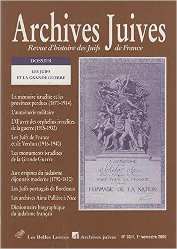 Archives Juives N 33 1 Les Juifs Et La Grande Guerre Les