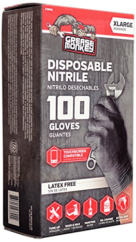 Grease Monkey Disposable Nitrile All Purpose Gloves - Pack of 100 (Non Latex) from '47