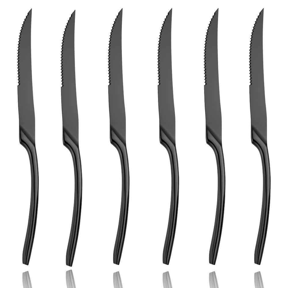 Lemeya 6 Pieces Steak Knife Set of 6, Standing Steak Knives,Silverware Flatware Cutlery Set,Mirror Polished,Dishwasher Safe (Black) by Lemeya