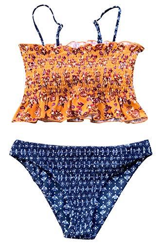 (CUPSHE Women's Summer Paisley Ruffled Smocked Bikini Medium Yellow)