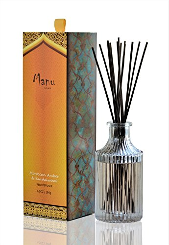 Manu Home Moroccan Reed Diffuser - A Delightful Scent of Morrocan Amber, Sandalwood, Ylang-ylang and Patchouli ~ Made in USA.