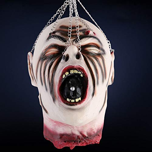 TCCSTAR Halloween Decorations Severed Head Cut Off Corpse Head Prop Hanging Bloody Gory Latex Zombie Party Supplies