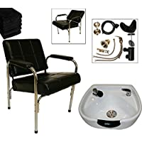 LCL Beauty Shampoo Package with Auto Reclining Shampoo Chair & Heart Shaped White Ceramic Shampoo Bowl - FREE 6 Black Absorbent Salon Quality Towels