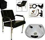 LCL Beauty Shampoo Package with Auto Reclining Shampoo Chair & Heart Shaped White Ceramic Shampoo Bowl – FREE 6 Black Absorbent Salon Quality Towels