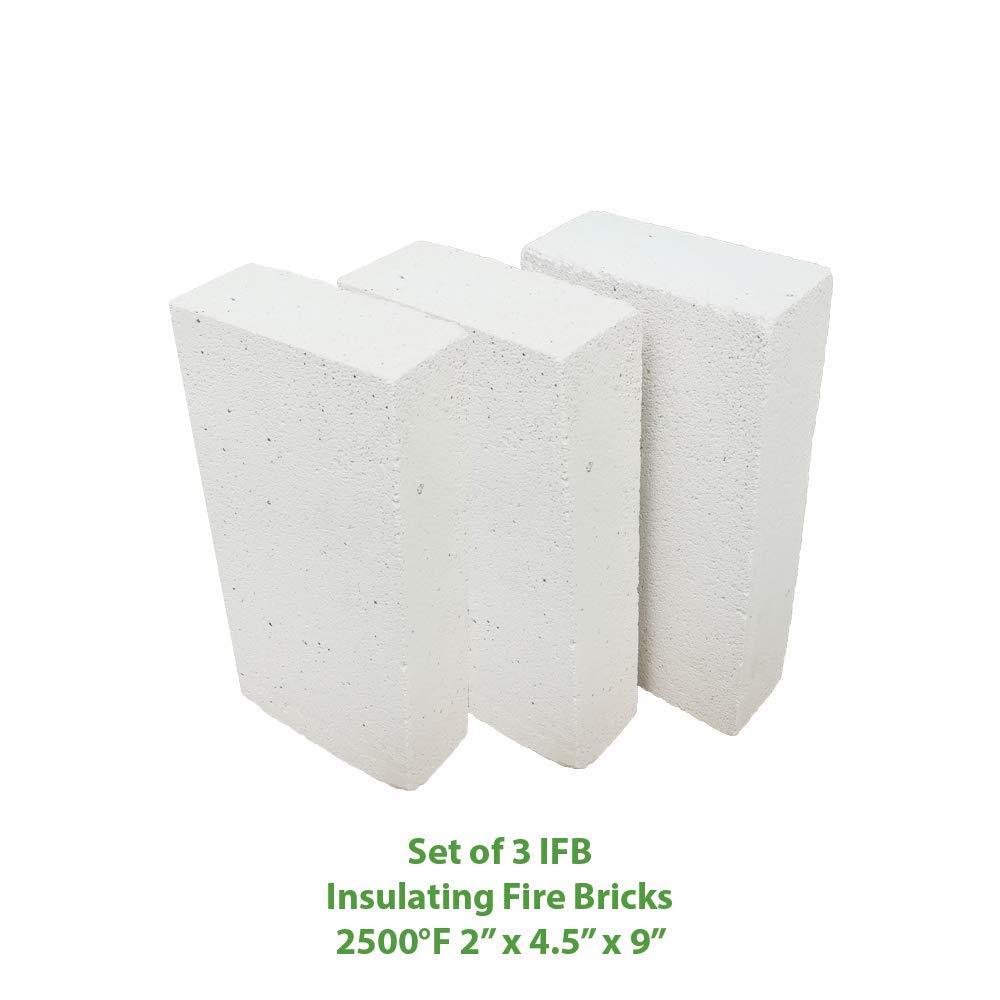 Insulating FireBrick 9x4.5x2 IFB 2500F Set of 3 Fire Brick