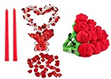 """Romantic Decor Set Package - Includes: 200 Red Polyester Silk Rose Petals, 1 Heart Gleam 'N Shape Centerpiece, 12 Bendable Plush Roses, 2 12"""" Red Taper Candles"""