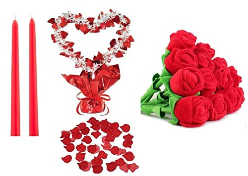 Long Stemmed Rose Centerpiece - Romantic Decor Set Package - Includes: 200 Red Polyester Silk Rose Petals, 1 Heart Gleam 'N Shape Centerpiece, 12 Bendable Plush Roses, 2 12