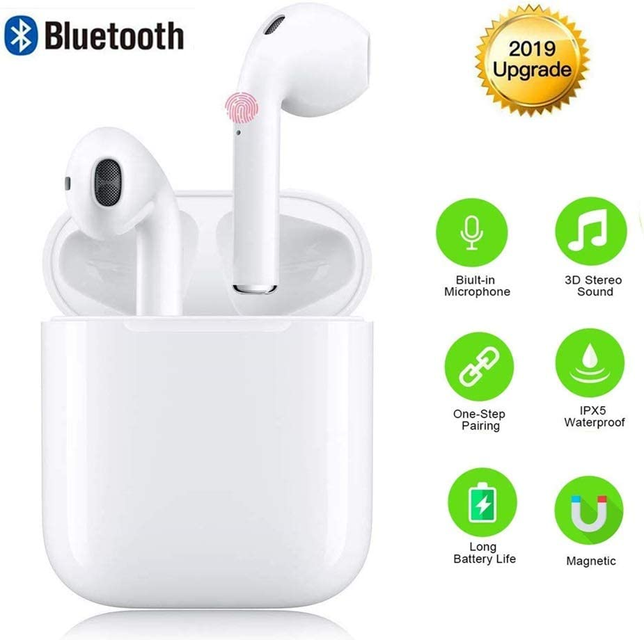 Wireless Headphones Bluetooth Earbuds Cordless Headsets Hands Free Earphones Mini Sports Headsets for iPhone Xs Max XS XR X 8 7 for Galaxy Samsung S10 S9 Plus S8 S7 S6