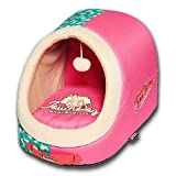 TOUCHDOG 'Lazy-Bones' Rabbit-Spotted Active-Play Panoramic Fashion Designer Pet Dog Cat Bed House Lounge w/ Teaser Toy, One Size, Pink, Teal