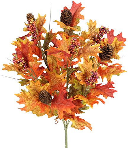 Admired By Nature GPB5417-TUSCANY 4 Piece 9 Stems Home/Fall Wedding/Halloween/Thanksgiving Decoration Arrangement Artificial Maple Leaves/Pine Cone/Berries Foliage Bush, Tuscany Mix