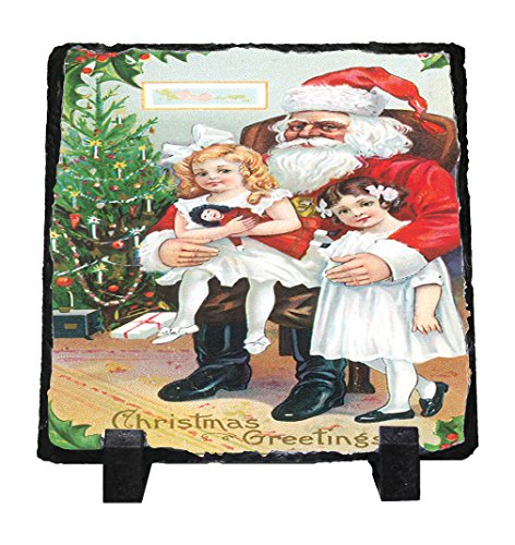Christmas Greetings Christmas Card Stone Slate Plaque Picture