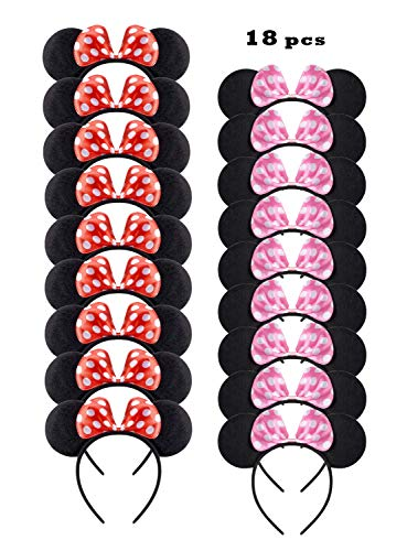 NEWTGAN 18 PCS Mouse Ears for Birthday Party Theme Park Costume Play Celebration for Boys and Girls (Red,Pink)]()