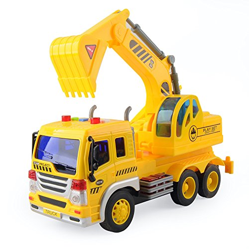 Gizmovine Truck Toy Friction Powered Excavator Truck Toy, Engineering Tow Toy Truck Vehicles with Lights and Sounds,Construction Tractor for Kids Boys and Girls, 1:16 ()