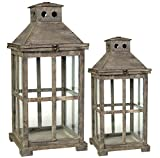 Established 98 20748 Wooden Lantern, Set of 2,