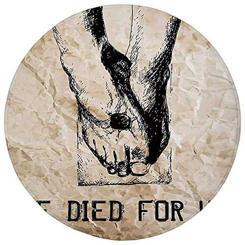 (Pet Mat Round Rug Mat Carpet,Quote,Hand Drawn Legs of Religious Figure He Died For Us Lettering Sketchy Design,Sand Brown Black,Flannel Microfiber Non-slip Soft Absorbent,for Kitchen Floor Bathroom)