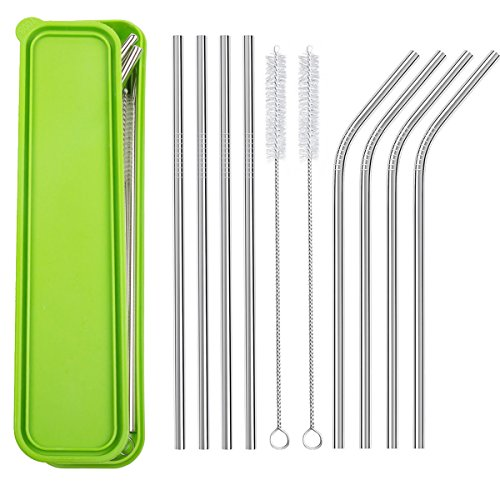Stainless Steel Drinking Straws, CBTONE Set of 8 Reusable Metal Drinking Straws with Cleaning Brushes and Portable Storage Box for Tumbler, Yeti, RTIC, Ozark Trail, Cold Beverage, Cocktail or Juice