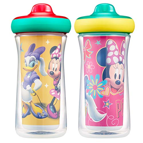 Disney Minnie Mouse Insulated Hard Spout Sippy Cups 9 Oz, 2pk | Scan with Free Share the Smiles App for Cute Animation | Share with Friends | Leak Proof Cups | Keep Drink Cool | Drop Guard|Toddler Cup