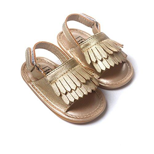LIVEBOX Infant Baby Girls Moccasins Tassels Premium Soft Rubber Sole Anti-Slip Summer Prewalker Toddler Sandals(M: 6~12 months,Champagne)