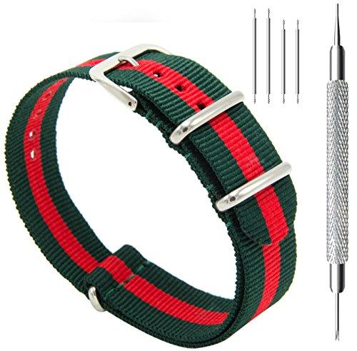 CIVO Watch Bands NATO Premium Ballistic Nylon Watch Strap Stainless Steel Buckle (Army Green/Crimson, -