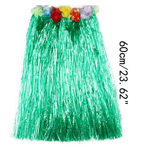 [Saymequeen Girls Colorful Hula Party Skirts Adults Flower Waistbands Grass Skirt (60cm/23.62