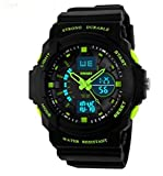 SKMEI 0955 Multi Function Military S-shock Sports Watch LED Analog Digital Waterproof Alarm (Green)