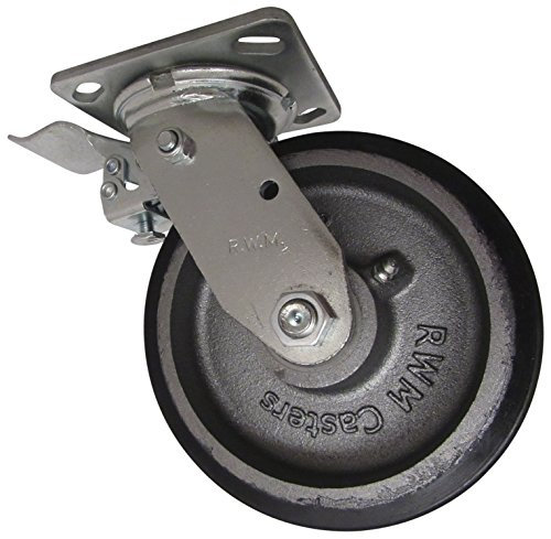 """RWM Casters 46 Series Plate Caster, Swivel with Face Contact Steel Total Lock Brake & Lock, Urethane on Iron Wheel, Roller Bearing, 1200 lbs Capacity, 6"""" Wheel Dia, 2"""" Wheel Width, 7-1/2"""" Mount Height, 4-1/2"""" Plate Length, 4"""" Plate Width from RWM Casters"""