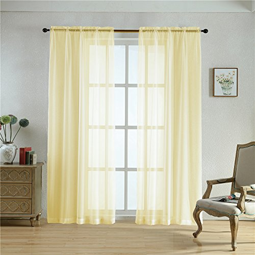BEGOODTEX Sheer Curtain Transparent Voile Window Treatment Draperies Rod Pocket Panel- 52Wx95L Inch- Champagne- 2 panels Review
