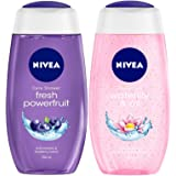 NIVEA Shower Gel, Powerfruit Fresh, 250ml and NIVEA Shower Gel, Waterlilly & Oil, 250ml
