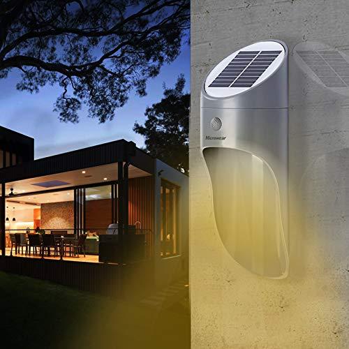 Microwear applique solari da esterno,lampada a led,sensore di movimento di sicurezza,impermeabile IP65,apparecchio di illuminazione per portico per giardino,recinzione,vialetto,cortile,balcone. (Grey)