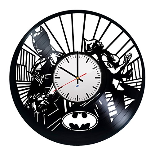 [Modern Vinyl Record Wall Clock With Batman Arkham Knight Catwoman Design - Unique Living Room Wall Decor - Original Gift Idea For Boys and Girls - Exclusive Comics Fan Art] (Batman Arkham Knight Catwoman Costume)