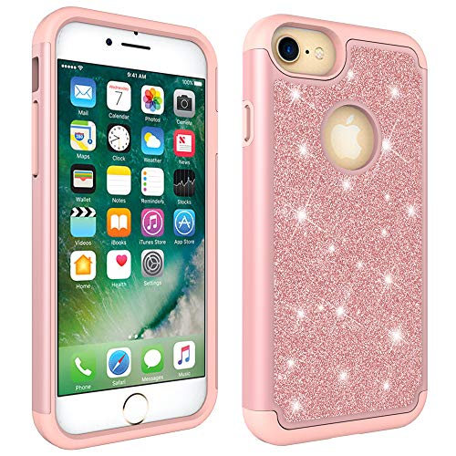 iPhone 6/6S/7/8 Case, Dooge Luxury Glitter Sparkle Shiny Bling Case Dual Layer Full-Body Heavy Duty Armor Defender Shockproof Protective Cover Case for Girls Women for Apple iPhone 6/6S/7/8 ()