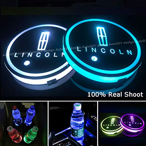AutoDIY Led Car Logo Cup Lights up Holder USB Charging Waterproof Bottle Drinks pad 7 Colors Changing Atmosphere Lamp mat Cars for Luminous Coasters 2PCS (for Lincoln)