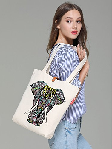 amp; Canvas 38cm Tote Animal So'each Beige 10L Beach Bag Print Elephant ZpU8qqxw5d