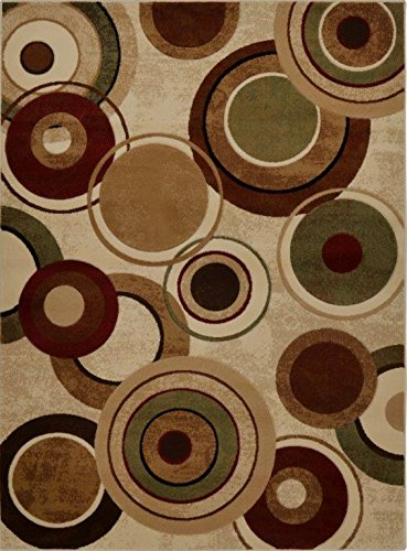 Linen Runner Rug Area (Home Dynamix Tribeca Emmitt Area Rug | Contemporary Living Room Rug | Abstract Circular Patterns | Rich Earth Tones | Ivory, Brown 5'2