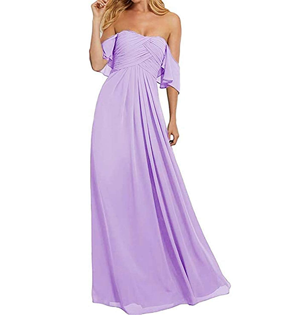 Lavender Ruiyuhong Women's Off The Shoulder Bridesmaid Dresses Long Ruffles Wedding Party Gown