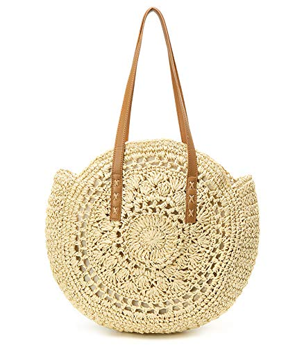 Women's Straw Handbags Large Summer Beach Tote Woven Round Pompom Handle Shoulder Bag …