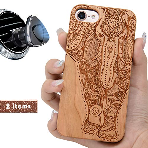 iProductsUS Elephant Phone Case Compatible with iPhone 8, 7, 6/6S and Magnetic Mount-Wood Phone Cases Engraved Unique Elephant,Built-in Metal Plate,TPU Rubber Shockproof Covers (4.7