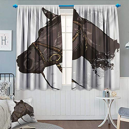 (Chaneyhouse Equestrian Window Curtain Drape Wild Horse Portrait with Grunge Paintbrush Effects Graphic Art Design Print Decorative Curtains for Living Room 72