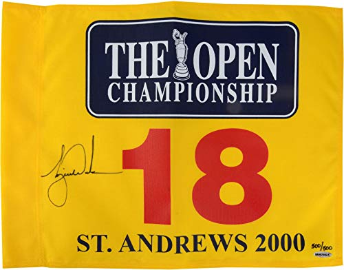 Tiger Woods Sports Memorabilia - Tiger Woods Autographed 2000 British at St. Andrews Pin Flag - Upper Deck Authenticated - Fanatics Authentic Certified
