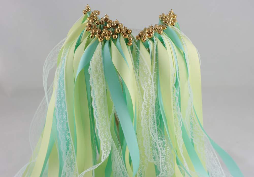 Cheonus 50PCS Ribbon Wands with Two Satin Ribbon and One Lace Ribbon Handmade Party Wand Streamers Ribbon Sticks Magic Fairy Wands Bridal Shower 617 314