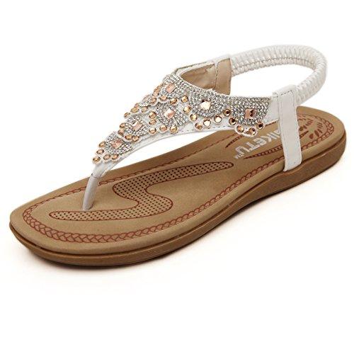 Fnnetiana Women T-Strap Summer Sandals Beach Platform Beads Flip Flops Thong Flat Shoes (US 7, White) ()