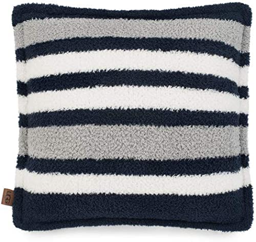 UGG Ana Striped Sherpa Fleece Decorative Throw Pillow, Navy, 20 x 20