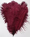 MELADY Pack of 500pcs Natural Ostrich Feathers 14-16inch(35~40cm) for Home Wedding Party Decoration (Burgundy)