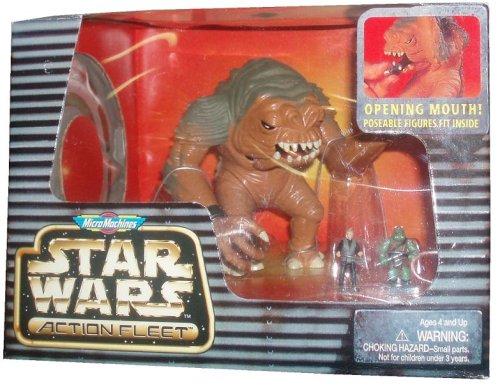 Micro Machines Star Wars Action Fleet Year 1996 Action Figures - Rancor Plus Luke Skywalker and Gamorrean Guard Micro Figures