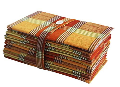 Cotton Craft -12 Pack - Rustic Farmhouse Oversized Plaid Dinner Napkins - Warm Orange Yellow Rust Multi - Size 20x20-100% Cotton - Specially Textured Woven Construction. ()