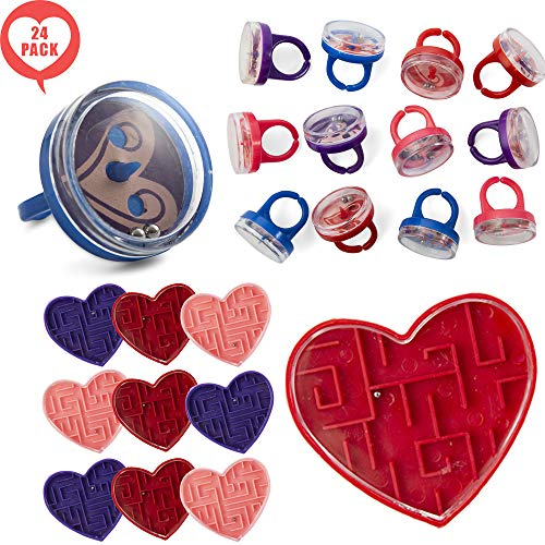 FAVONIR Valentine's Day 24 Gift Pack Stationary Party Souvenirs Favor Set - Heart Shaped Maze Puzzles And Face Pill Ring Puzzles - Kids Novelty Toy And Bag Stuffer