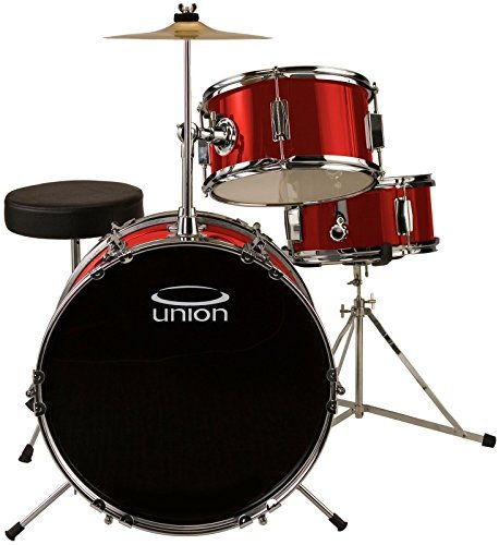 Union DBJ3071(MR) 3-Piece Junior Drum Set with Hardware Cymbal and Throne - Metallic Red [並行輸入品] B07C9HKLT7