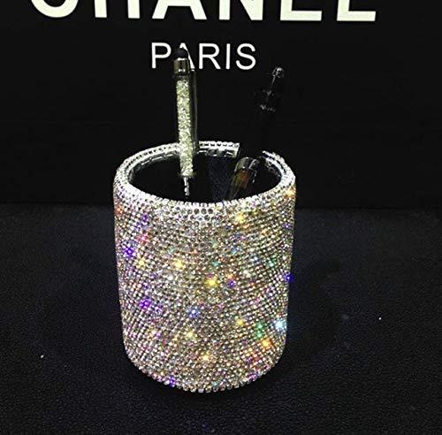 Bling Bling Spark Crystal Pen Holder Stand Cup Box Organizer for Desk -