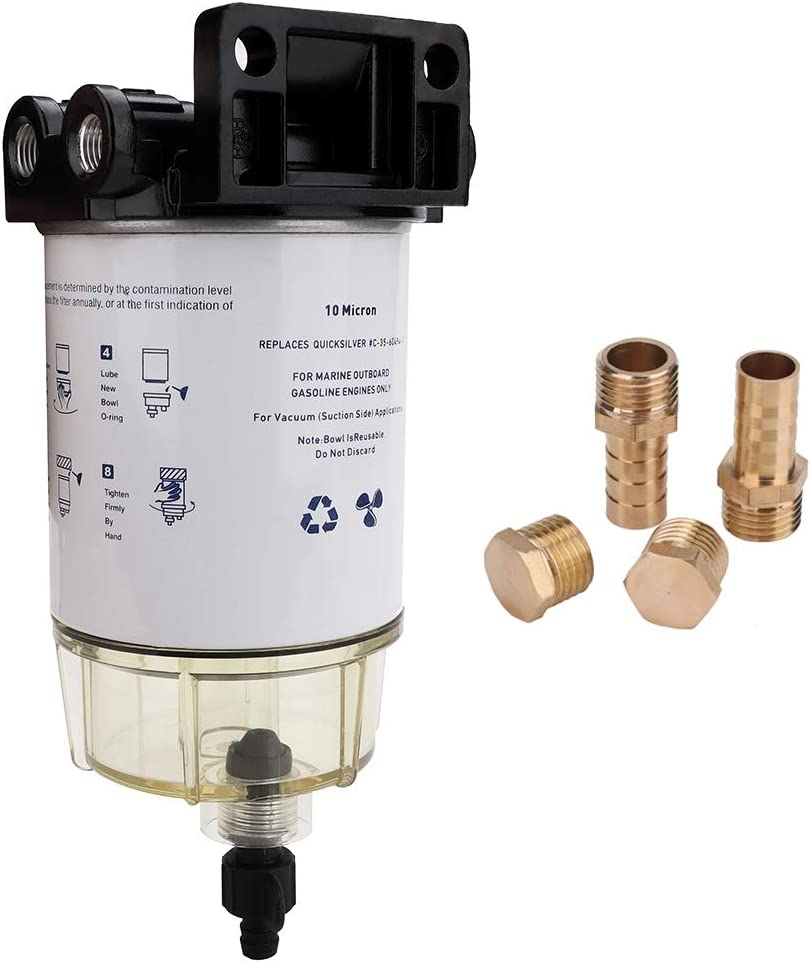 S3213 Marine Fuel Water Separator Filter Assembly with Clear Bowl 18-7922, 3/8 Inch NPT Port For Outboard Motor Mercury 35-60494-1 Yamaha Racor Sierra Engine Boat 10 Micron - Replaces B32013, 18-7932